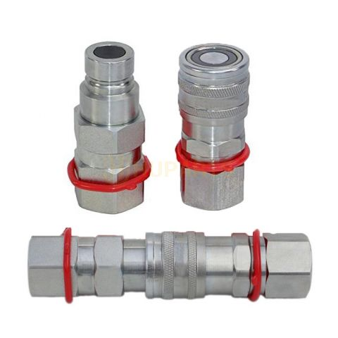 """5/8"""" SAE Flat Face Coupler Set Hydraulic Quick Connect Fitting Bobcat CAT CASE Volvo New Holland Thomas ASV"""
